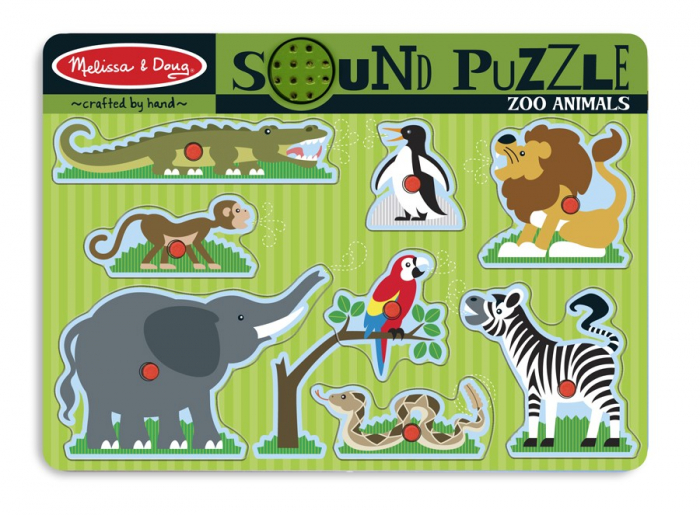 Puzzle de lemn cu sunete Animale de la Zoo [0]