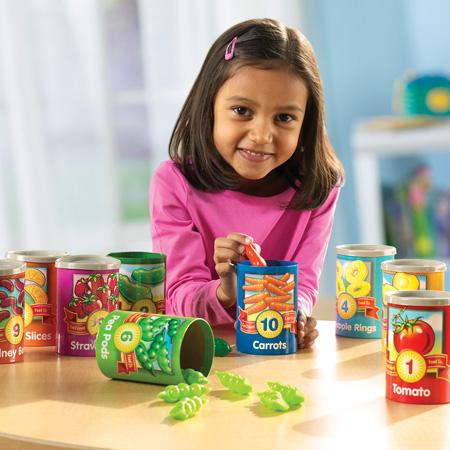Numara conservele - Set invatare fructe, cifre si culori