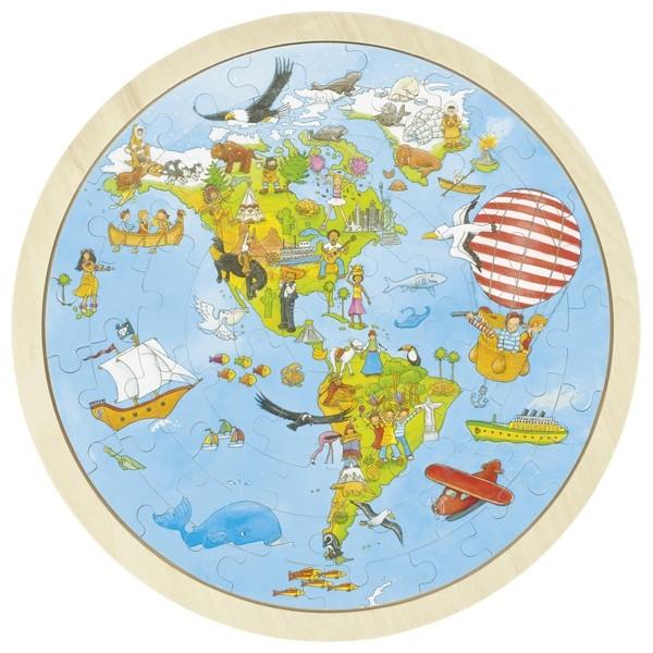 Puzzle circular din lemn Calatorie prin lume 0
