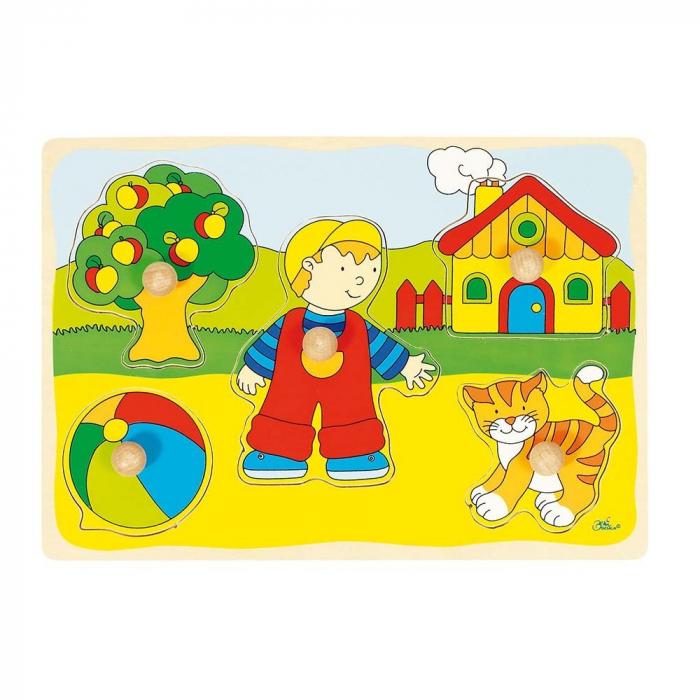 Puzzle din lemn Baietel si Pisicuta [0]