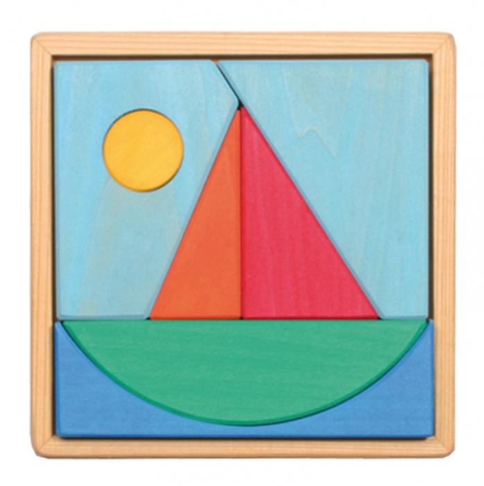 Puzzle din lemn cu barcuta si soare 0