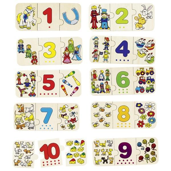 Puzzle lemn cu autocorectie invata Numerele 0