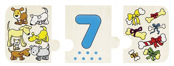 Puzzle lemn cu autocorectie invata Numerele 1