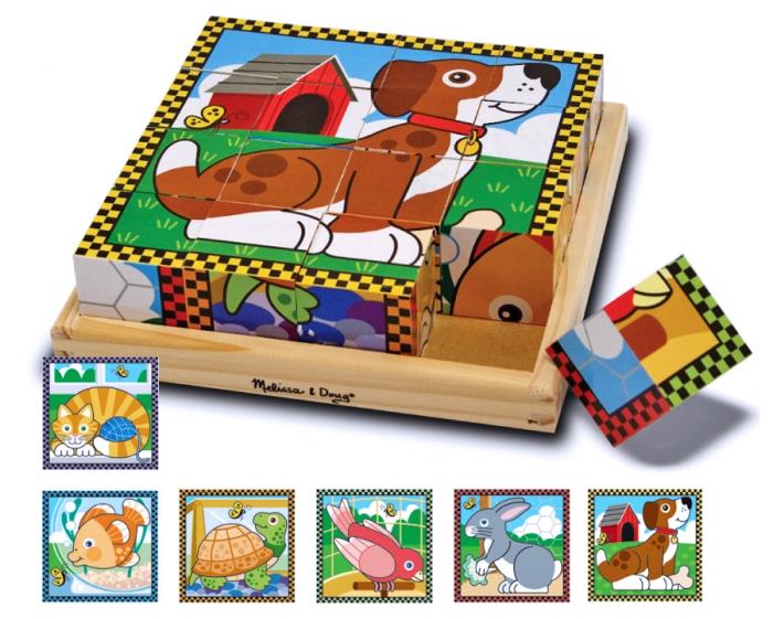 Puzzle lemn din cuburi Animalele de casa 0