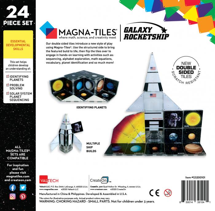 Set de constructie piese magnetice CreateOn Magna-Tiles - Racheta 24 piese 1