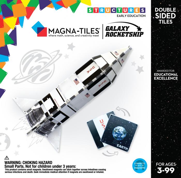 Set de constructie piese magnetice CreateOn Magna-Tiles - Racheta 24 piese 0