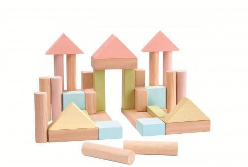 Set de constructie cu 40 de blocuri din lem culoare pastel [0]