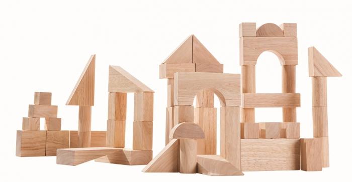 Set de constructie cu 50 de blocuri din lem culoare natur 0