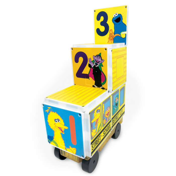 Set de constructie piese magnetice Autobuzul scolar Sesame Street CreateOn Magna-Tiles - Set 14 piese magnetice 3