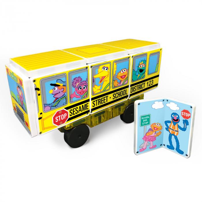 Set de constructie piese magnetice Autobuzul scolar Sesame Street CreateOn Magna-Tiles - Set 14 piese magnetice 2
