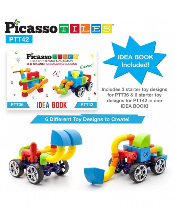Set PicassoTiles Masina - 42 Blocuri Magnetice De Constructie Colorate [1]