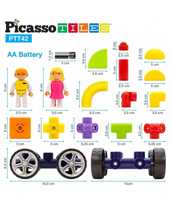 Set PicassoTiles Masina - 42 Blocuri Magnetice De Constructie Colorate [0]