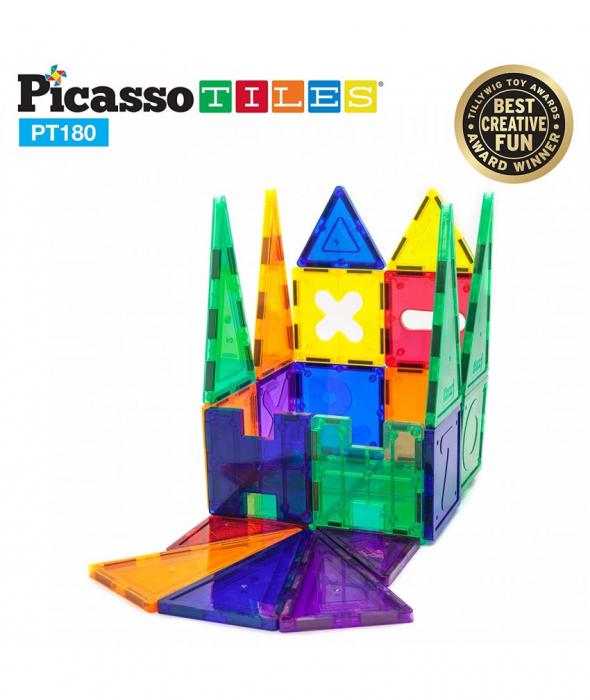 Set PicassoTiles Deluxe Combo - 180 Piese Magnetice De Constructie Colorate [1]