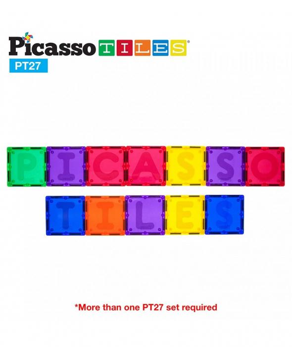 Set PicassoTiles Alfabet - 27 Piese Magnetice De Constructie Colorate [1]