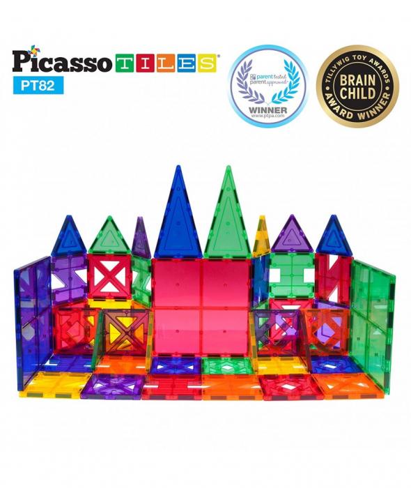 Set PicassoTiles Creativitate - 82 Piese Magnetice De Constructie Colorate - 10 Forme Diferite [1]