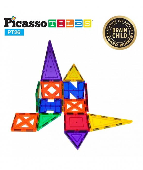 Set PicassoTiles Inspirational - 26 Piese Magnetice De Constructie Colorate - 9 Forme Diferite [0]