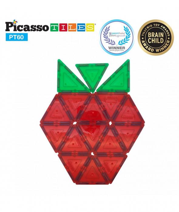 Set PicassoTiles - 60 Piese Magnetice De Constructie Colorate [2]