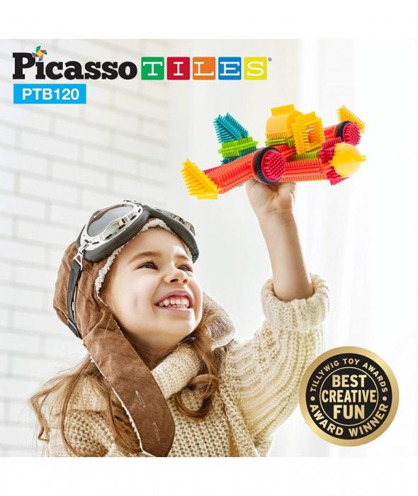 Set PicassoTiles Basic Bristle Shape Blocks - 120 de forme de constructie ce se intrepatrund [2]