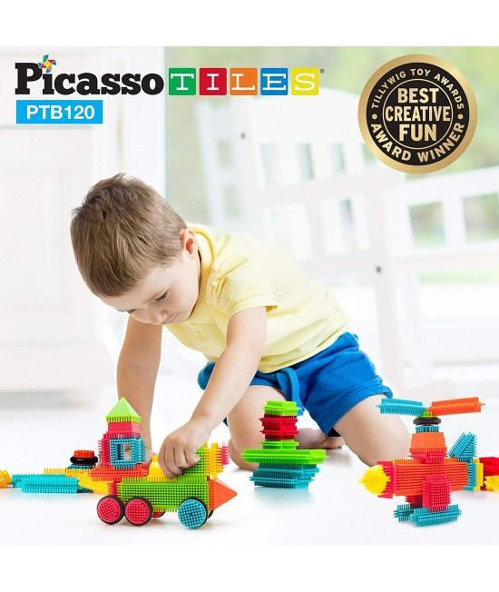 Set PicassoTiles Basic Bristle Shape Blocks - 120 de forme de constructie ce se intrepatrund [0]