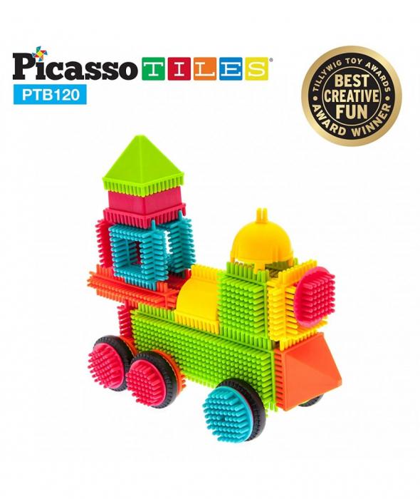 Set PicassoTiles Basic Bristle Shape Blocks - 120 de forme de constructie ce se intrepatrund [1]