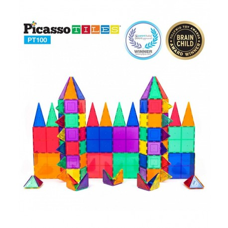 Set PicassoTiles - 100 Piese Magnetice De Constructie Colorate [1]