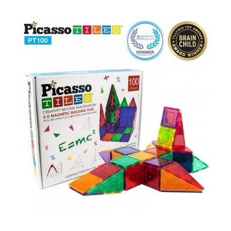 Set PicassoTiles - 100 Piese Magnetice De Constructie Colorate [0]