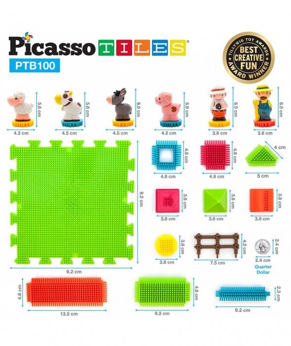 Set PicassoTiles Basic Bristle Shape Blocks Farm - 100 De Forme De Constructie ce se intrepatrund [2]