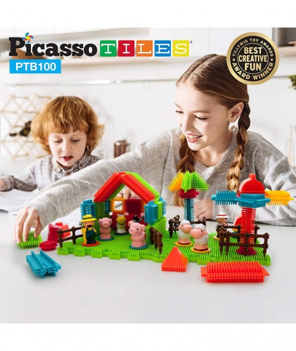 Set PicassoTiles Basic Bristle Shape Blocks Farm - 100 De Forme De Constructie ce se intrepatrund [3]