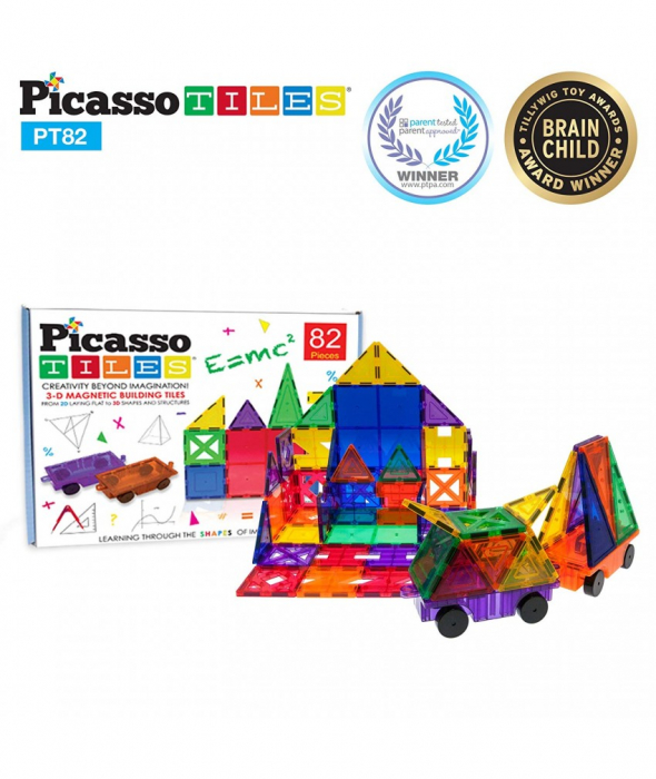 Set PicassoTiles Creativitate - 82 Piese Magnetice De Constructie Colorate - 10 Forme Diferite [7]