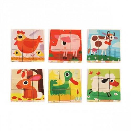 Cuburi de lemn - Animale PiouPiou 0