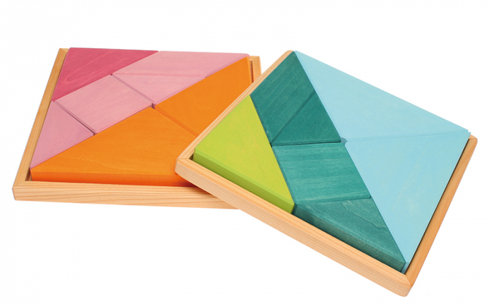 Tangram puzzle verde-albastru 1