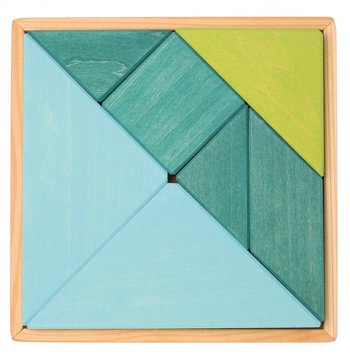 Tangram puzzle verde-albastru 0