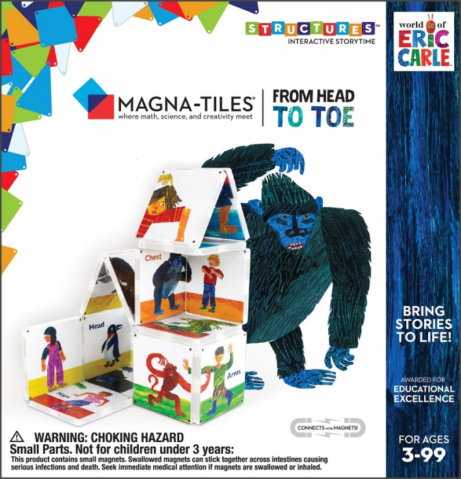 Set de constructie piese magnetice, CreateOn Magna-Tiles -  Din cap pana in picioare By Eric Carle, 16 piese 7