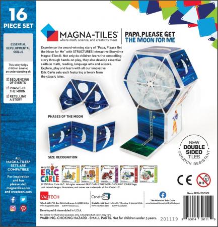 Set de constructie piese magnetice, CreateOn Magna-Tiles -  Tati, te rog, adu-mi luna de pe cer By Eric Carle, 16 piese5