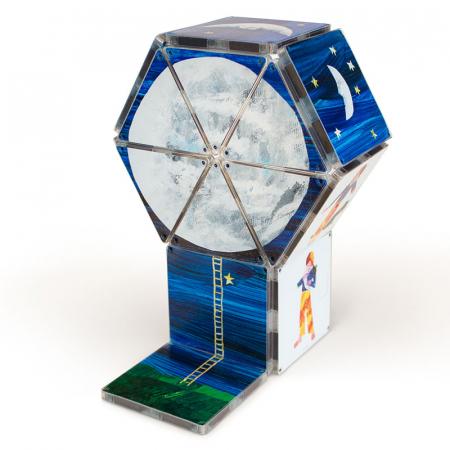 Set de constructie piese magnetice, CreateOn Magna-Tiles -  Tati, te rog, adu-mi luna de pe cer By Eric Carle, 16 piese0