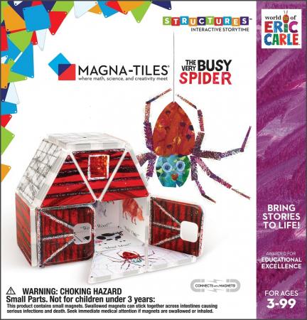 Set de constructie piese magnetice, CreateOn Magna-Tiles -  Paianjenul cel harnic By Eric Carle, 16 piese1