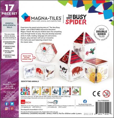 Set de constructie piese magnetice, CreateOn Magna-Tiles -  Paianjenul cel harnic By Eric Carle, 16 piese5