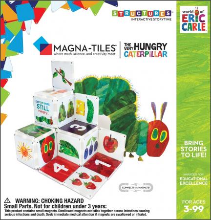 Set de constructie piese magnetice, CreateOn Magna-Tiles -  Omida mancacioasa By Eric Carle, 16 piese