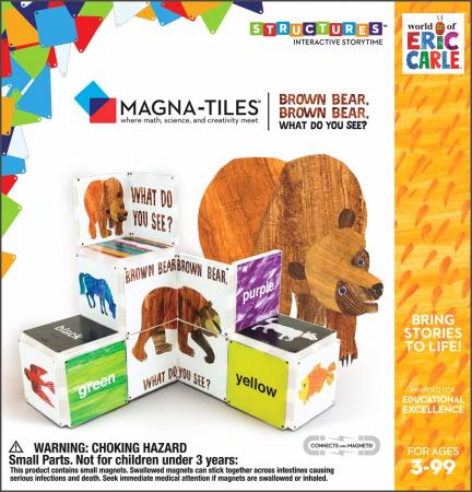 Set de constructie piese magnetice, CreateOn Magna-Tiles -  Ursule brun, ursule brun, tu ce vezi? By Eric Carle, 16 piese