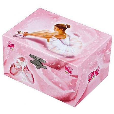 Cutie muzicala roz cu balerina alba