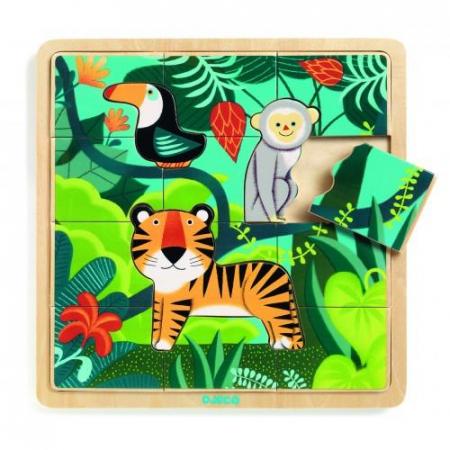 Puzzle incastru de lemn - Jungla animalelor0