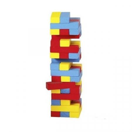 Joc Jenga cu piese din lemn in culori [1]