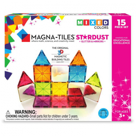 Magna-Tiles Stardust cu sclipici si oglinzi - 15 piese [0]