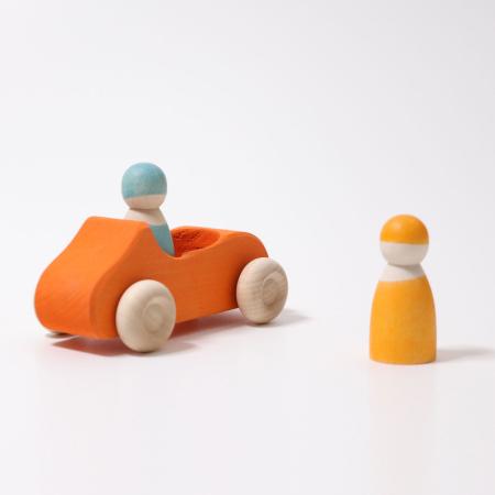 Masinuta dubla cu sofer si pasager portocaliu0