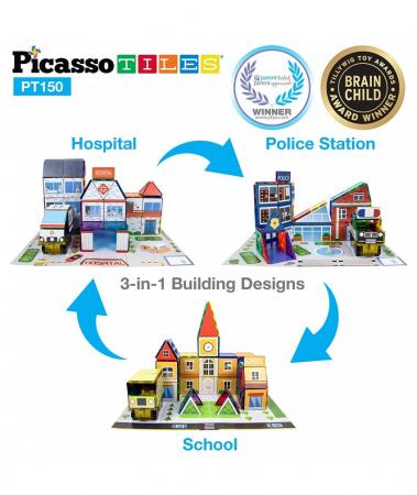 Set Picasso Tiles 3 In 1 Cu 150 De Piese - Scoala/Spital/Statie De Politie [0]