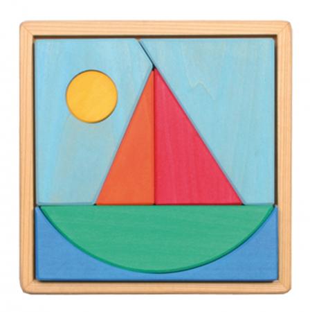 Puzzle din lemn cu barcuta si soare0