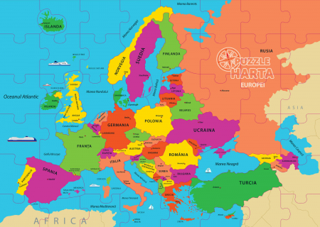 Puzzle geografic - Harta Europei 69 piese