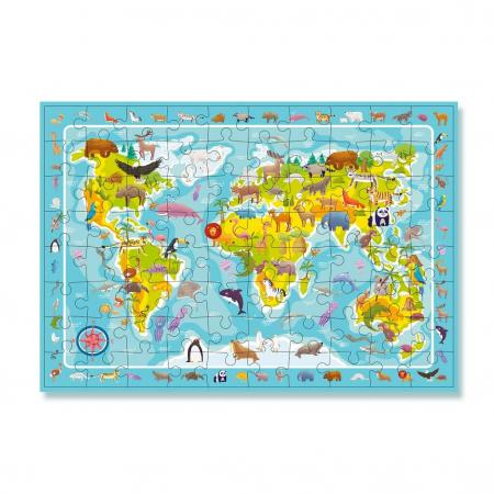 Puzzle - Harta animalelor lumii - 80 piese