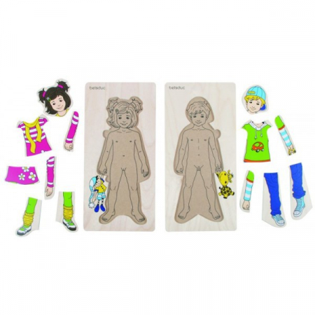 Puzzle lemn Imbracam copiii [1]