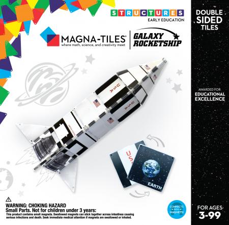 Set de constructie piese magnetice CreateOn Magna-Tiles - Racheta 24 piese0
